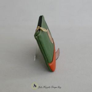本革 牛革 長財布 通帳手帳ケース グリーン×オレンジ バイカラー ファスナー付横面の画像
